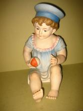 Large Bisque Porcelain Piano Baby