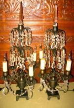 Pair of Bronze and Crystal Girandoles