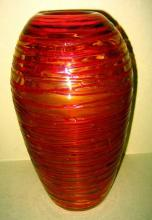 Art Glass Vase with Red Glass Thread