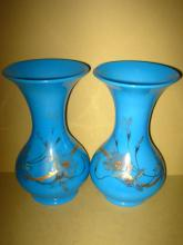Pair of French Blue Glass Vases