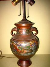 Oriental Champleve Lamp Base