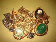 Bag Lot of Old Vintage Jewelry