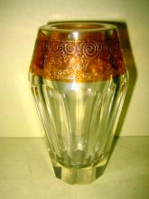 Small Deco Art Glass Vase with Amber Flash