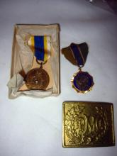 Lot of Two Medals and a Brass Buckle