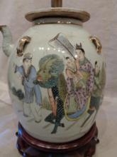 19th C. Famille Rose Porcelain Teapot Lamp