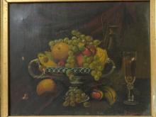 Antique Signed Still Life Oil on Canvas