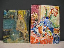 Eugene Pizzuto (1925-2004) Two Oils on Masonite