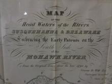 Antique Map of Susquehanna & Delaware Rivers