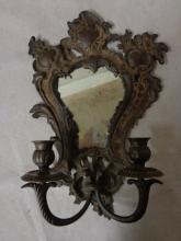 Rococo Style Bronze Mirrored Wall Sconce