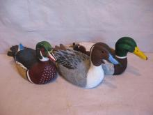Three Hand-Carved Duck Decoys