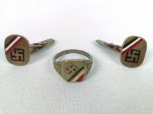 WWII Nazi Ring and Cuff Link Set
