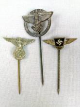3 WWII Nazi Stick Pins