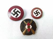 3 Enamel WWII Nazi Pins