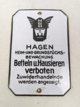 German Enamel Plaque No Peddlers