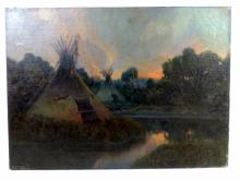 Oil on Canvas Indian Encampment