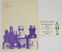 Grateful Dead Concert Program and Ticket Stub, Wembley Empire Pool, London England April 8, 1972