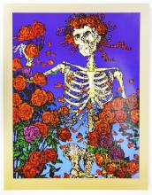 Skeleton and Roses Poster Gold Border Signed