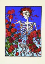 Skeleton and Roses Silk Screen Print, Signed