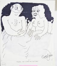 Fling Black & White 1970s Line Art Cartoon