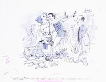 Fling May 1991 line art cartoon signed by Liel