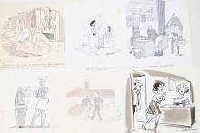 6 Fling Magazine 70s grayscale watercolor cartoons