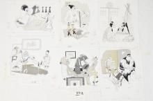 6 Fling Magazine 1960 to 70s line art cartoons by