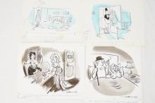 4 Fling Magazine 1950 to 60s line art cartoons by