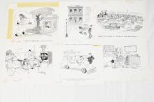 6 Fling Magazine 1970s grayscale original cartoons