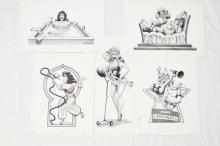 5 Fling Magazine 1980s grayscale original cartoons