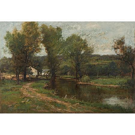 Charles Linford American, 1846-1897 Farmhouse Along a River