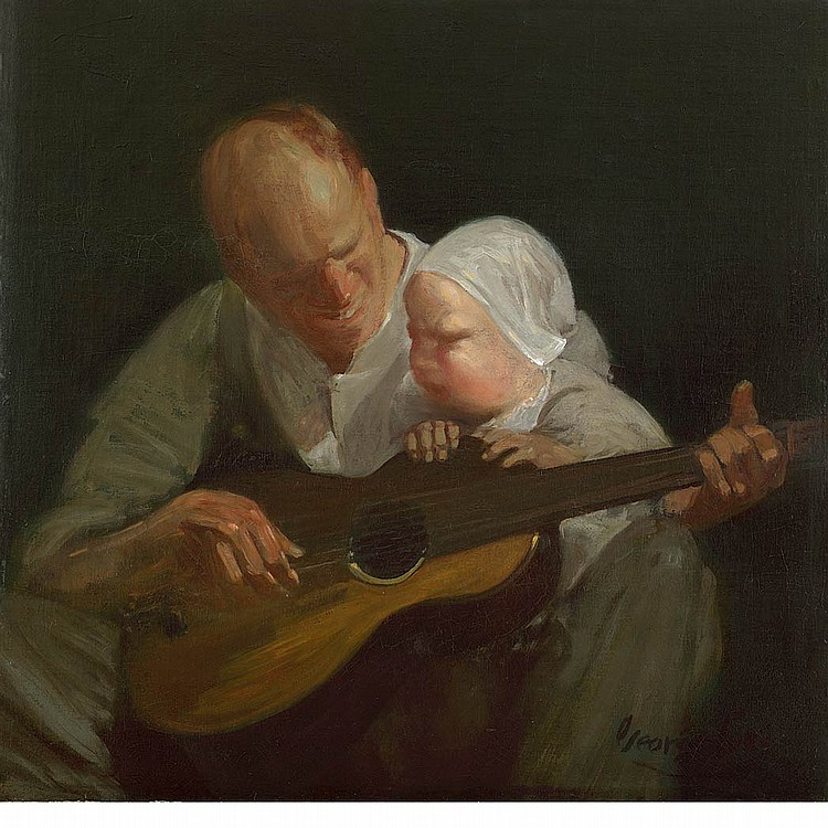 George Benjamin Luks American, 1867-1933 Man and Child with Guitar (Portrait of the Artist's Brother with his Son), 1908