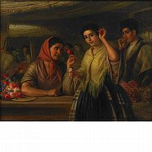 George Henry Hall American, 1825-1913 The Flower Seller, 1861