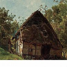 Thomas Worthington Whittredge American, 1820-1910 Thatched Cottage (Westphalian Cottage)