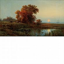 Edward Moran American, 1829-1901 Sunset on the Marsh