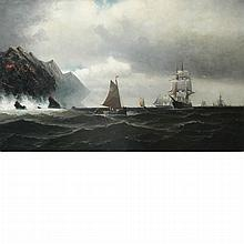 American School 19th Century Ships on a Choppy Sea, 1878