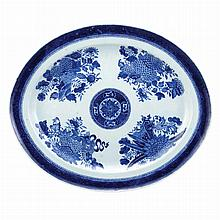 Chinese Export Porcelain Blue Fitzhugh Oval Platter