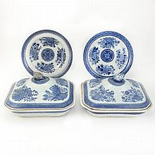Pair of Chinese Export Porcelain Blue Fitzhugh Covered Dishes; Together with Two Chinese Export Porcelain Blue Fitzhugh Plates