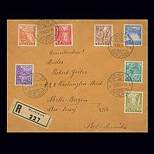 Switzerland 1934 3C to 30C Landscape Series Scott 219-25, Zumstein
