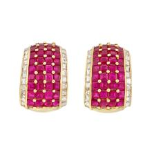 Pair of Gold, Ruby and Diamond Earclips