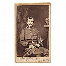 [CIVIL WAR - CONFEDERATE] Signed carte-de-visite portrait of Brigadier General Simon Bolivar Buckner, in his war uniform, si...