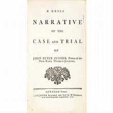 [ZENGER, PETER] A Brief Narrative of the Case and Trial of John Peter Zenger, Printer of the New-York Weekly-Journal. Lancas...