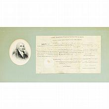 MADISON, JAMES Document Signed. Washington: 29 August 1812. Partially printed vellum document accomplished in manuscript gra...