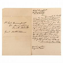 JACKSON, ANDREW Autograph letter signed. Washington: 25 May 1835. 1 page letter to Colonel Davenport at Rock Island, being a...