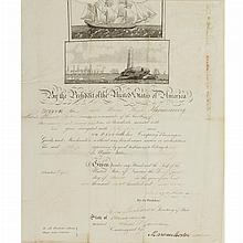 POLK, JAMES Signed document. [Washington:] 24 March 1847. Partially printed passport on vellum for the