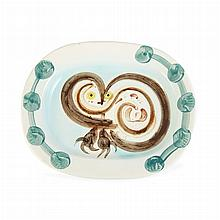 Pablo Picasso WOOD-OWL (A.R. 48) Painted and glazed white ceramic dish