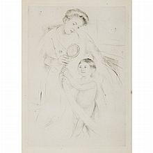 Mary Cassatt LOOKING INTO THE HAND MIRROR (NO. 3) Etching and drypoint