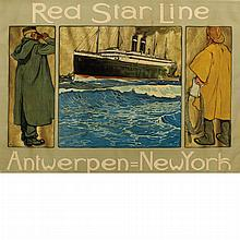Hendrick Cassiers RED STAR LINE, ANTWERPEN=NEW YORK Color lithograph