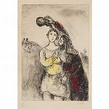 Marc Chagall ANNOINTING OF SAUL Hand-colored etching