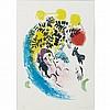 Marc Chagall LES AMOUREUX AUX SOLEIL ROUGE Color lithograph