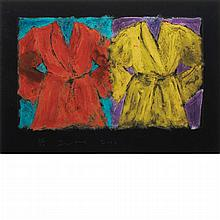 Jim Dine THE HENRY STREET ROBE Aquatint over digital color print on cardboard